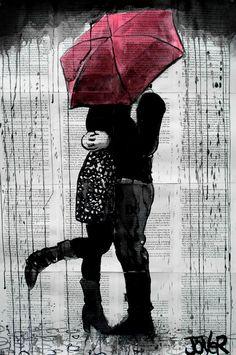 "Saatchi Art Artist: Loui Jover; Pen and Ink 2013 Drawing ""rainy romance"""