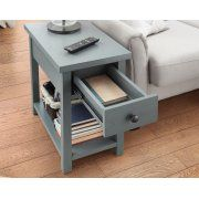 Better Homes and Gardens Oxford Square End Table with Drawer, Blue Image 2 of 6