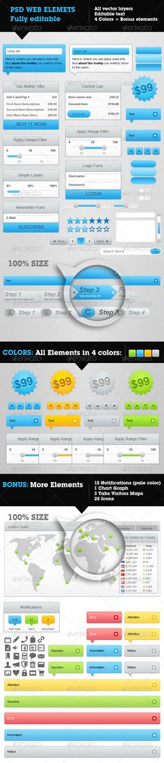 Web Elements collection in 4 different colors.  Included elements (all of these in 4 colors): - 2 Tooltip popups - 1 small Tooltip