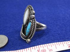 Vintage Sterling Silver Native American Turquoise and Mother of Pearl Ring Size 7