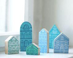 SET of 6 Hand painted wooden village miniature village