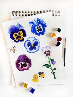 Pansy watercolor illustration by Studio Sonate Watercolor Illustration, Pansies, Studio, Trays, Flowers, Prints, Design, Art, Ideas