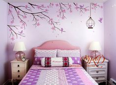 Cherry Tree branch wall decal sticker perfect for your nursery or kids room !    The overall size measures approx. 260cm wide.  The decals can be reversed/mirrored. Just mention it in the message to seller section of checkout.    [WHATS INCLUDED IN DECAL PACK]  Tree branches  Blossoms  Petals  Birdcage  Flying birds  stamen  Application instruction and small test decal    [Colors]  Please choose 1 color for the tree branch and birdcage,1 color for the blossoms, 1 color for stamen and 1 c...