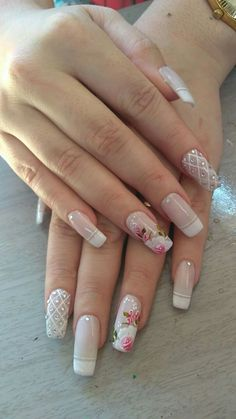 Inspiração - Unhas decoradas Makeup Goals, French Nails, Manicure, Pasta, Nail Art, Beauty, Art Nails, Designed Nails, Bride