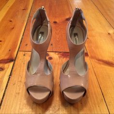 INC International Concepts Open Toe Heels Tan Leather...size 7...5 inch heels. **Pretty much mint condition** INC International Concepts Shoes Heels