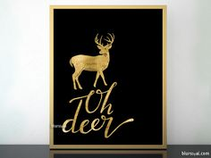 Oh deer printable fall decor in black and gold