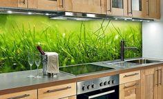 glasrückwand natur frische küche gras holz