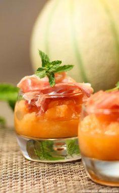 Verrines de Melon Glacé et chiffonnade de Jambon de Parme
