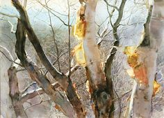 Chinese Watercolor Artist Guan Weixing   Autumn Rhythm (watercolor on paper, 21×29) Not usually into realism but this is beautiful.