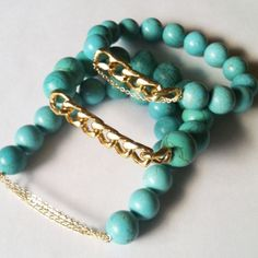 GageHuntley.com #turquoise #beaded #gold #chain #bracelet #set #armswag #jewelry #armparty #accessories #boho #fashion