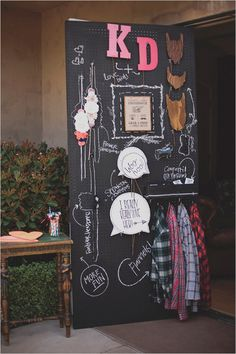 bride2be:    best photo booth prop set-up ever…. wooden beards, bow ties, speech bubbles, flannels, feather headdress, floral headbands… and all stored nice and neat on chalkboard painted pegboard with outlines and descriptions so you can see what is missing!