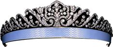"""Faberge tiara, 1910, now in the collection of Albion Art.  If I understand the commentary on the site correctly, it was felt that for older women (!) it was not flattering to have the brightness of the jewels too close to the face, hence the blue enamel bandeau. Surprised, in that case, there aren't more such!  Photo in Munn's """"Tiara: A History of Splendour."""""""