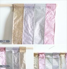 DIY backdrop - ribbon+thread+wooden pole. Beautiful!