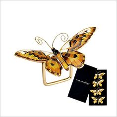 Kim Seybert Butterfly Napkin Ring in Gift Box (Set of 4):     Kim Seybert's butterfly napkin rings in rich earth tone colors.     Hand painted enamel.    Care: Wipe clean with a damp cloth. 4.5
