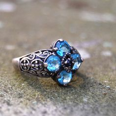 Vintage stamped Sterling Silver Aquamarine Sapphire Filigree Cocktail Ring sz 7 #Cocktail