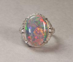 8.60 carat Lightening Ridge opal ring