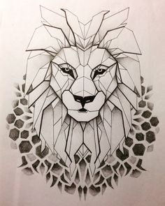 Geometrical Lion Tattoo