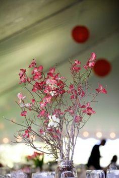 pink brancy centerpiece - - perfect for Valentine's Day wedding