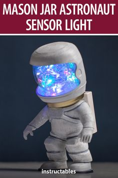 This astronaut sensor light is made from a 3D printed body, mason jar head, and a sensor and LEDs in the head. #Instructables #lighting #upcycle #3Dprint #figurine Weekend Projects, Craft Projects, Projects To Try, Craft Ideas, Dry Brush Technique, Mason Jar Lids, White Acrylic Paint, Mood Light, Mason Jar Lighting