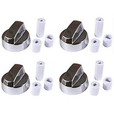 4-Pack Stove Control Knobs Silver Chrome Generic w/ 12 Adapters Cooking Parts  #4YourHome