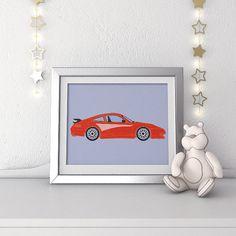 Race car nursery print by Krokoneil on Etsy
