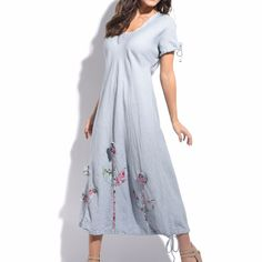 Light Gray Floral Linen Shift Dress Size L