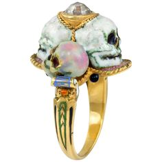 For Sale on - A diamond, enamel, and 18 karat gold skull ring, by Venice-based house of Codognato, This ring is a size It is signed Codognato Venezia and stamped Diamond Skull, Gold Skull, Diamond Eyes, Gold Diamond Rings, Opal Rings, Skulls, Skull Jewelry, Hippie Jewelry, High Jewelry