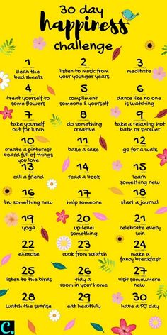 Want To Know How To Be Happy? Take This 30 Day Happiness Challenge! - Captivating Crazy Want To Know How To Be Happy? Take This 30 Day Happiness Challenge! - Captivating Crazy,Self-Care & Self-Love 30 Day Happiness Challenge Infrographic Compliment Someone, Self Care Bullet Journal, Vie Motivation, Happiness Challenge, Ways To Be Happier, Self Care Activities, Self Development, Personal Development, Self Improvement Tips