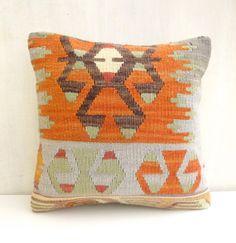 Orange Pillow Cover Vintage Kilim Cushion by SophiesBazaar on Etsy, $49.00