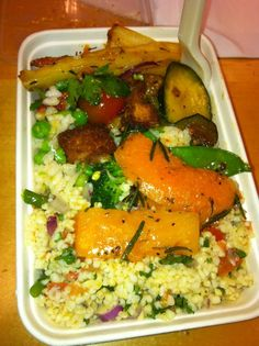 Mildreds - Soho. Mixed salad. £4.75. Roasted squash/carrot/parsnip/courgette/garlic/rosemary (FIT). Croutons. Tomato. Herbs. Pea & mint rice. Roasted pepper cous-cous. Green beans. Mange tout. Broccoli. Olives. Giant capers. Grapes. Cheese. Chickpeas. Balsamic onions. A taste sensation. Never enough for me, Ruddleston, and our eyes that are bigger than our bellies.  9/10 for trying though.
