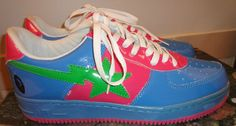 Bathing Ape Bape Men Shoes GENTLY USED ONE TIME PINK BLUE GREEN SZ 12