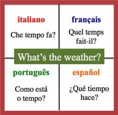 What's the weather? - Daily Vocabulary Word in French, Spanish, Italian and Portuguese.   http://wlteacher.wordpress.com/