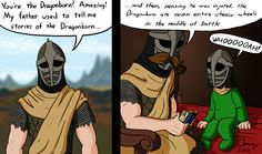 My father used to tell me stories of the Dragonborn...love how they still have helmets on