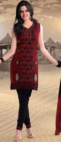 Dark #Red #Cotton Readymade #Churidar Kameez