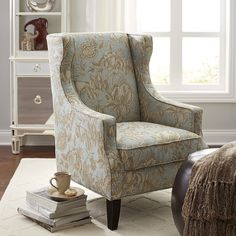 Alec Blue Floral Wing Chair
