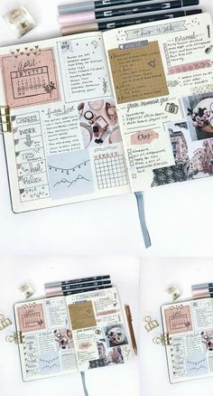 Planner Bullet Journal, Bullet Journal Aesthetic, Bullet Journal Notebook, Bullet Journal School, Bullet Journal Ideas Pages, Bullet Journal Spread, Bullet Journal Inspiration, Scrapbook Journal, Journal Layout