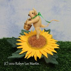 Sunflower Pin Cushion Mouse Primitive Mouse by MotherlodeToad