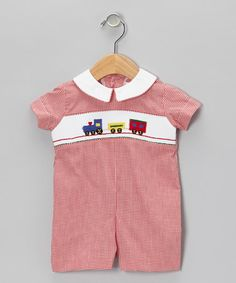 Take a look at this Red Gingham Train Romper - Infant by Betti Terrell on #zulily today!