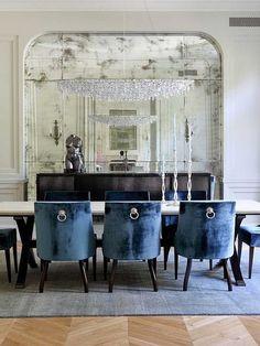Navy blue velvet in the dining room.  Devine. #devinecolor #devineinspiration