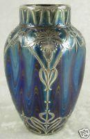 Loetz Art Nouveau Glass Vase Iridescent Bohemian Silver Overlay 4-3/8in