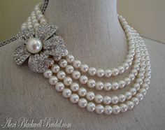 Mother of the Bride Pearl Brooch Necklace Set Flower  in Rhinestone and Swarovski by AlexiBlackwellBridal on Etsy, $135.00