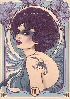Graphic Design Illustration, Illustration Art, Art Nouveau, Alphonse Mucha Art, Zodiac Characters, Horoscope Tattoos, Paper Artwork, Astrology Zodiac, Cancer Zodiac Art