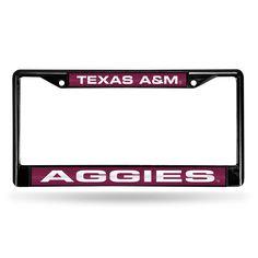 Texas A&M Aggies Black Chrome Laser Cut License Plate Frame