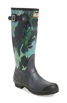 Hunter 'Original Tall - Botanical' Rain Boot (Women) available at #Nordstrom #RaincoatsForWomenChristmasGifts