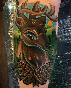 Mr. Elk by @leahmoule at Sweet Life Gallery in Birmingham England. #elk #pinecones #leahmoule #sweetlifegallery #birmingham #tattoo #tattoos #tattoosnob