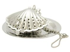 Sea Shell Stainless Steel Tea Infuser with Drip Tray.