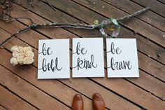 be bold be kind be brave canvas wall art set