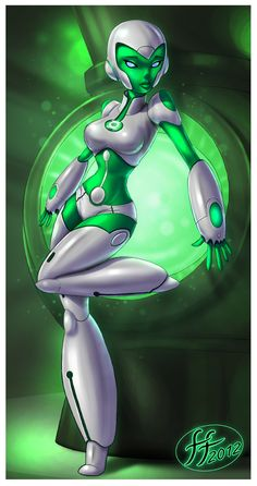Aya (Hal's mispronunciation of A.) is a fictional character, a super-heroine in the DC Comics universe. Created by Bruce Timm she made her first appearance in Green Lantern in Comic Books Art, Comic Art, Marvel Dc, Comic Character, Character Design, Character Ideas, Star Wars Bb8, Green Lantern Corps, Green Lanterns