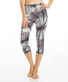 Look what I found on #zulily! Balance Collection Black Tie Dye Capri Leggings by Balance Collection #zulilyfinds