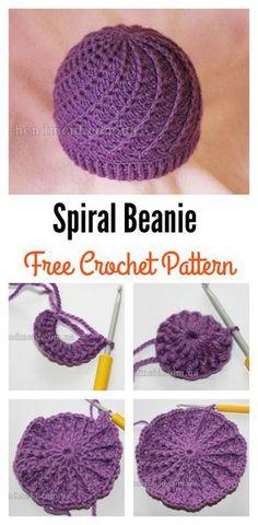 Spiral beanie free crochet pattern